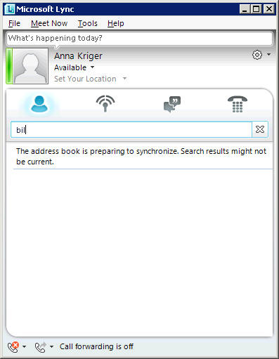 The address book is preparing to synchronize, lync 2010